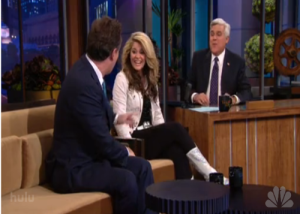 Lauren Alania with Jay Leno and Piers Morgan