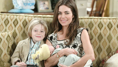 Victoria Newman -- Amelia Heinle  on the set of Young and the Restless on CBS