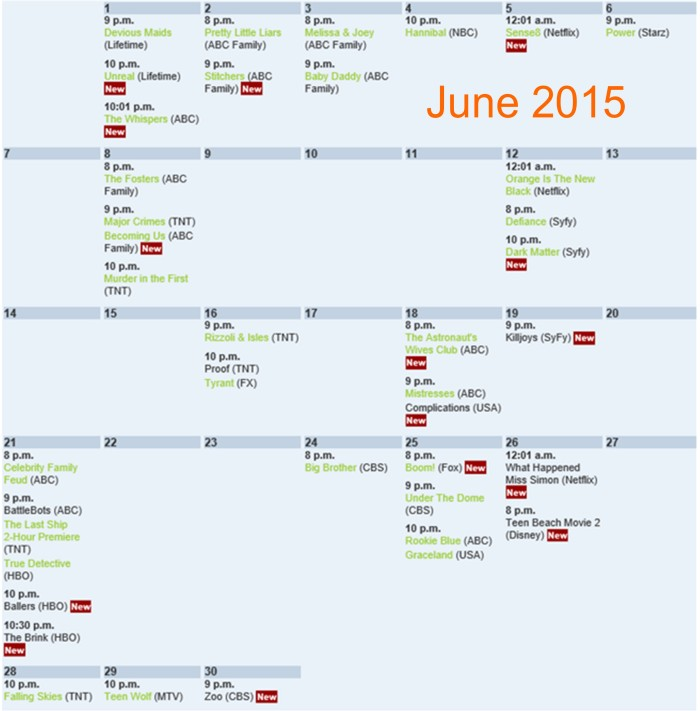 Summer TV shows 2015
