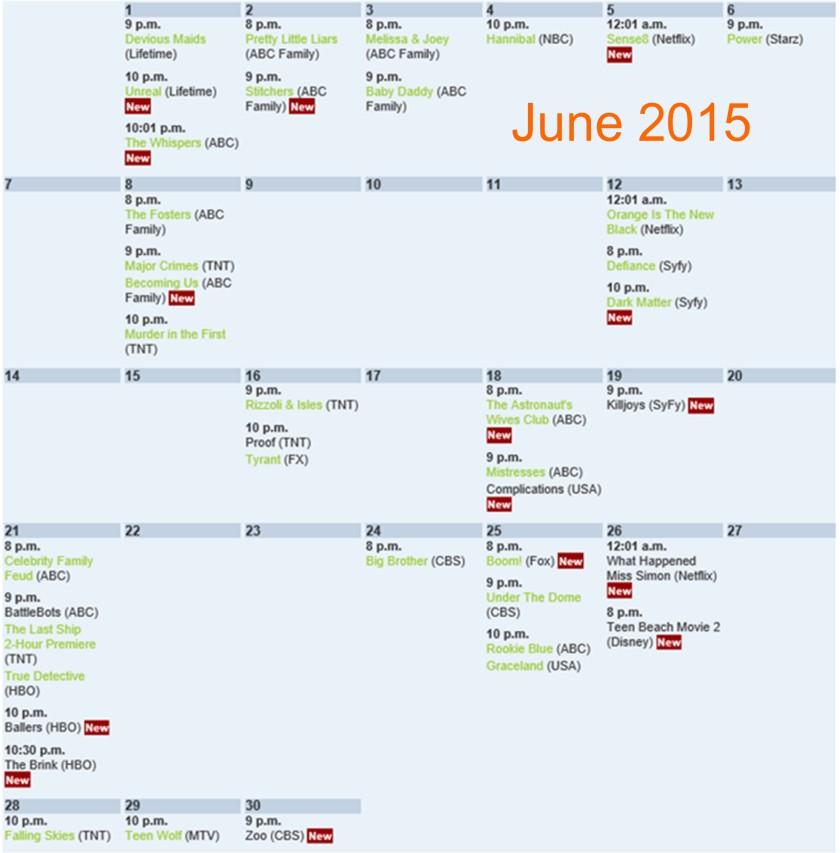 Summer TV shows 2015