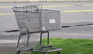 Shopping cart grass